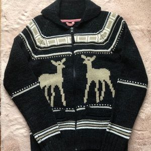 TRIPLE FIVE DEER KNIT ZIP WOOL SWEATER CARDIGAN